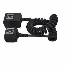 Dual Hot Shoe TTL Flash Sync Cord Cable for Pentax Canon Nik