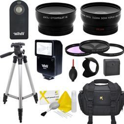WIDE ANGLE LENS + ZOOM LENS +3 FILTERS FLASH BAG TRIPOD FOR